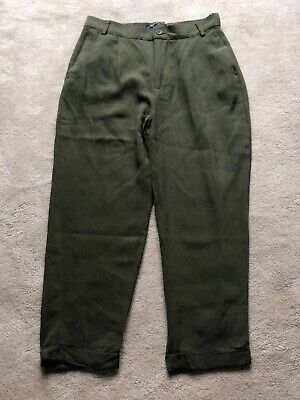 Zara Khaki Cropped Trousers Size 6 • 3£