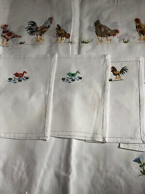 Gorgeous Hand Embroidered Table Cloth With 7 Napkins- 100% Cotton  • 61.55£
