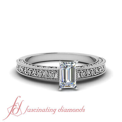$ CDN2636.39 • Buy 1/2 Carat Single Emerald Cut Diamond Celtic Engagement Ring In Platinum FLAWLESS