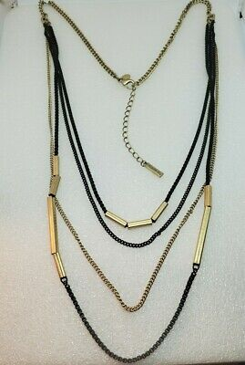 $ CDN13.56 • Buy Lia Sophia 4 Strand Long Gold & Black Chain Link Adjustable Necklace