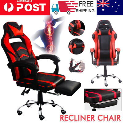 AU125.64 • Buy  Gaming Office Chair Racing Executive Footrest Computer Seat PU Leather AYLESEA