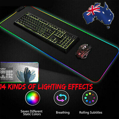 AU15.99 • Buy 90*40CM Large RGB Colorful LED Lighting Gaming Mouse Mat Pad For PC Laptop 🔥