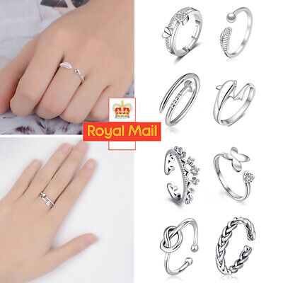 Womens 925 Sterling Silver Rings Adjustable Thumb Wedding Engagement Gift D • 1.19£