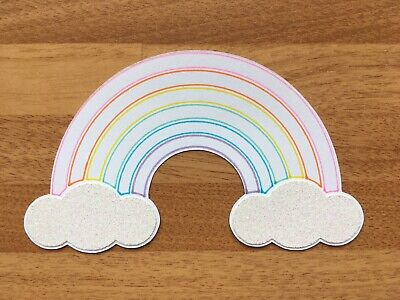 4x Large Pastel Rainbow Card Toppers Die Cut Embellishments Birthday Baby • 2.39£