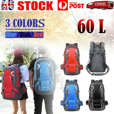 AU23.66 • Buy 60L Large Backpack Waterproof Hiking Camping Bag Travel Outdoor Luggage Rucksack