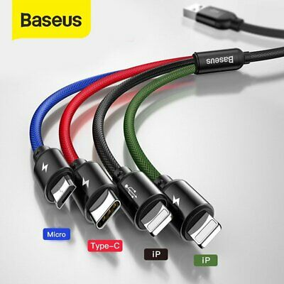 AU15.29 • Buy ❤ Baseus 4 In 1 Multi USB Charger Cable Cord For IPhone USB TYPE C Android Micro