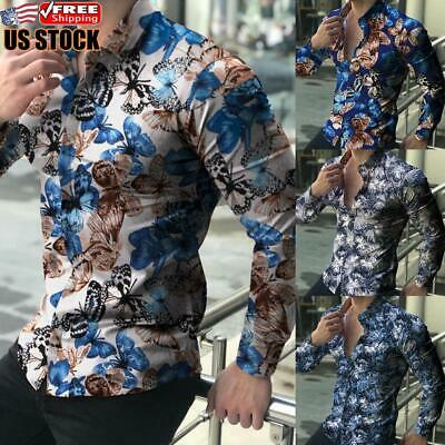 $21.27 • Buy Men's Floral Slim Fit Shirt Long Sleeve Formal Casual Button Tops T-Shirt Blouse