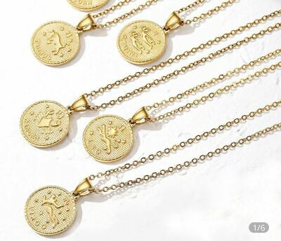 Star Sign Horoscope Necklace Zodiac Gold Color Chain Pendant - £7.00 Delivered • 7£