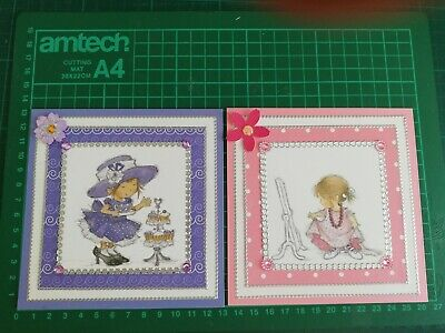 2 Handmade Cute Girl's Female Birthday Card Toppers • 1.20£