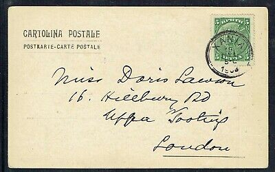 Crete 1905 Picture Postcard To London With 5l Green Stamp As Scans • 15£
