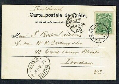 Crete 1904 Picture Postcard To London Via Malta With 5l Stamp As Scans • 15£