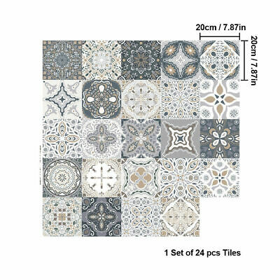 24 Kitchen Stickers Grey Tile 6x6 Bathroom Victorian Wall Tile Transfers Mosaic • 5.09£