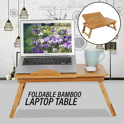 AU25.98 • Buy Foldable Bamboo Laptop Table Multi-Function Cooling Holder Desk Table Stand