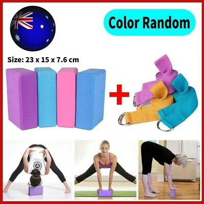 AU16.59 • Buy 2Pcs Yoga Block Brick+Fitness Belt Foaming Home Exercise Practice Gym Sport Tool