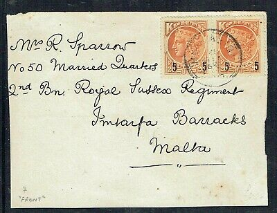 Crete C.1905 Front To Malta With Pair 5 On 20L Stamps Heraklion Postmark As Scan • 10£