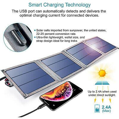 CHOETECH Foldable 14W SunPower Panels Solar Charger For IPhone/Samsung/Huawei • 36.78£