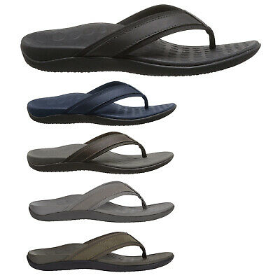 Vionic Mens Sandals Tide 544MTIDE Casual Slip-On Toe-Post Leather Textile • 44.12£