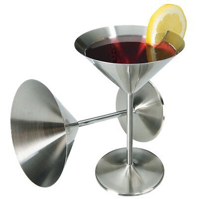 Set Of 2: Vintage Retro Stainless Steel Cocktail Glasses Goblets Martini Cosmo • 8.99£