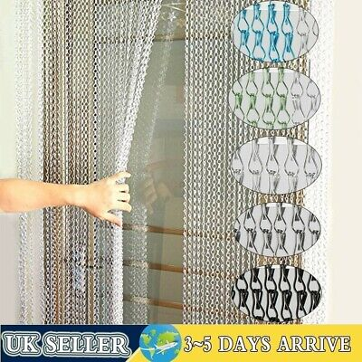 214x90CM Aluminium Metal Chain Link Door Curtain Fly Pest Control Blinds Screen • 33.98£