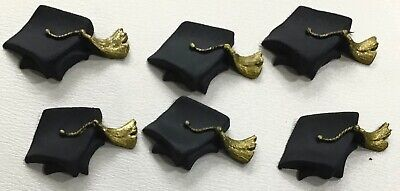 6 Edible Sugar Icing Graduation Hats Caps Black Gold Cup Cake Toppers Decoration • 2.99£