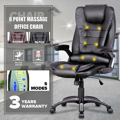 AU137.90 • Buy 8 Point Heated Massage Pu Leather Executive Office Computer Chair Black /Brown