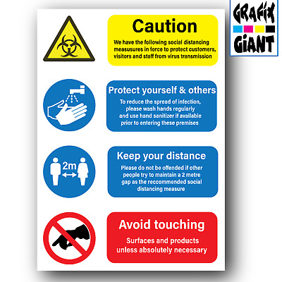 £4.99 • Buy Health Safety Social Distance Wash Sanitise Hands 2 Metres A3 A4 Poster Signs