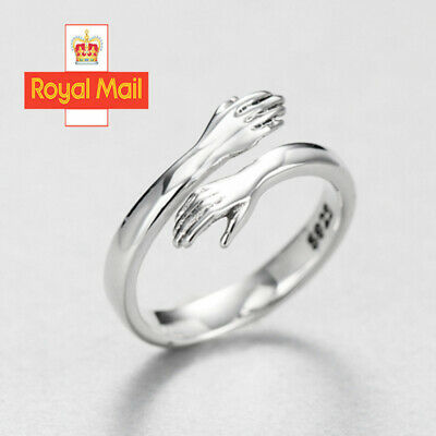 925 Sterling Silver Love Hug Ring Band Open Finger Fully Adjustable Jewelry  • 4.99£