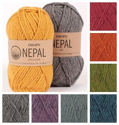 New DROPS Nepal Wool & Alpaca Aran Weight Knitting Yarn 25 Colours • 2.30£