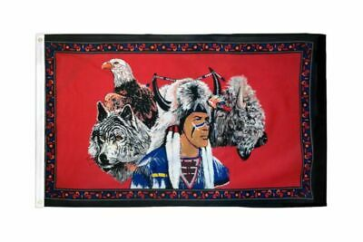 $30.29 • Buy 5 Pack INDIAN EAGLE AND WOLF 3X5 Polyester Flag