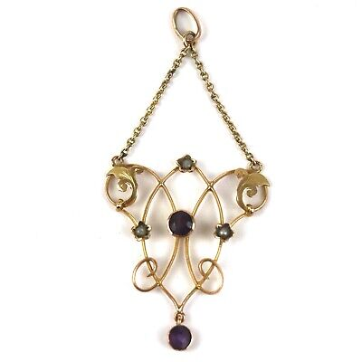 An Antique Art Nouveau Edwardian 9ct Gold Amethyst And Seed Pearl Drop Pendant • 99.99£