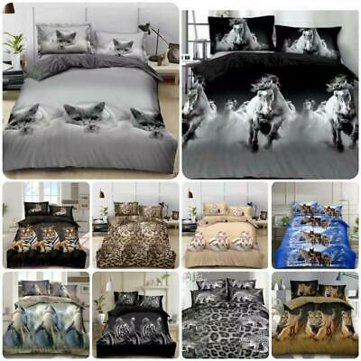 3D Animal Print Duvet Cover Set Duvet Cover Sheet Pillowcase Single Double King  • 15.93£