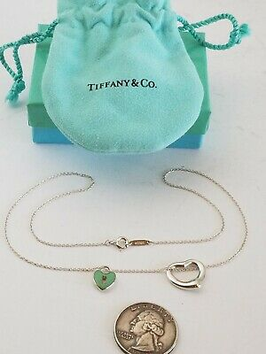 $119 • Buy Tiffany & Co Sterling Silver Elsa Peretti & Lock Heart Pendant Necklace Bag 16
