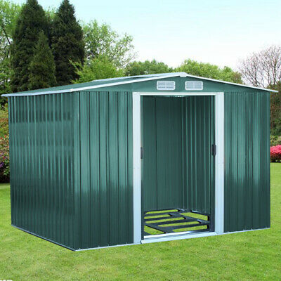 Garden Shed Metal Storage House Galvanized Steel + Foundation Roofed Toolhouse • 505.95£