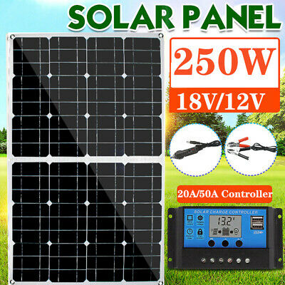 Durable USB Mono Solar Panel 12V Battery Charger W/Controller For RV Boat 250W • 102.09£