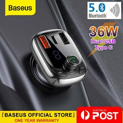AU23.99 • Buy Baseus Fast Car Charger USB Type C Handsfree FM Transmitter Bluetooth MP3 Player