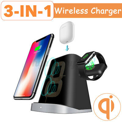AU33.99 • Buy 3in1 Qi Wireless Fast Charger Dock Stand For IPhone Apple Watch For Airpods Pro