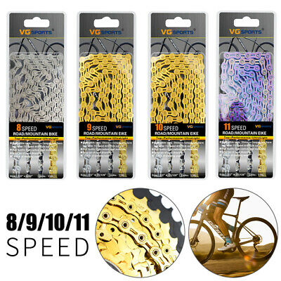 6/7/8/9/10/11 Speed Gear Bicycle Chain Half-Hollow 116 Links MTB Road Bike Chain • 12.89£