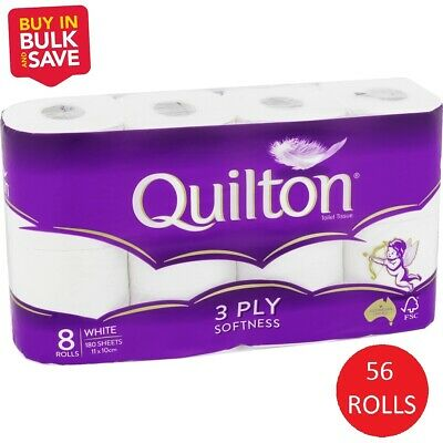 AU46.79 • Buy Quilton Toilet Paper Tissue Soft (3 Ply, 180 Sheets) - 56 Rolls Value Pack