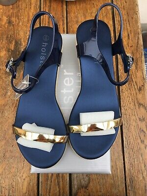 Holster Midnight Blue And Gold Wedge Sandal Uk 6 Euro 39 • 5.75£