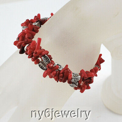 $5.99 • Buy Fashion Women Multi Strands Red Natural Coral Chip Beads Stretch Bracelet