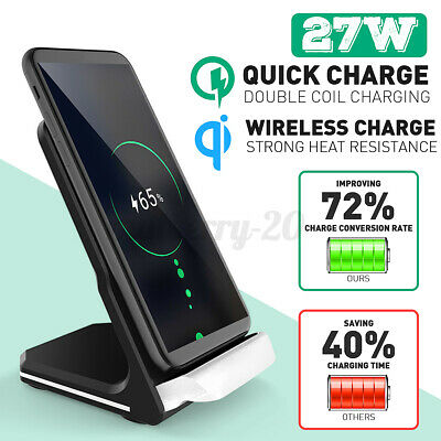 AU22.95 • Buy ❤ 27W Qi Wireless Charger Fast Charging Stand Dock For Samsung S8 S9 S10 Note 8