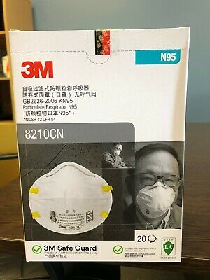 AU99 • Buy 3M Particulate Respirator Face Masks 20-Pack - N95 8210CN NIOSH Approved
