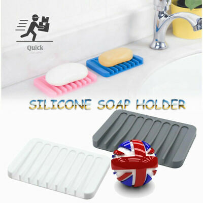 Silicone Bathroom Soap Dish Soap Holder Grey White Soapbox Plate Tray Drain • 2.68£