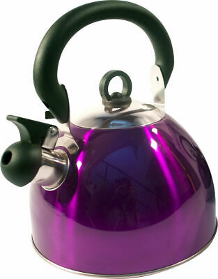 Purple Stainless Steel Whistling Kettle 3L Stove Top Hob Kitchenware Camping • 8.90£