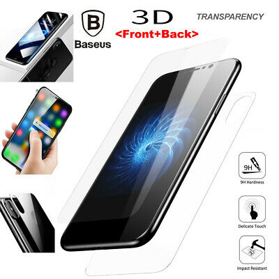 AU11.12 • Buy IPhone X Genuine Baseus Full Body Front Back 3D Tempered Glass Screen Protector