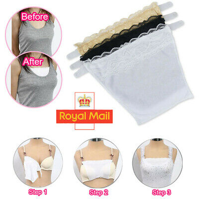 3Pcs Cami Secret Clip On Mock Camisole Modesty Panel Women White Black Beige Set • 3.59£