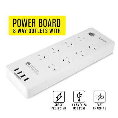 AU46.69 • Buy Power Board 8 Way Outlets Socket 4 USB Fast Charging Ports Surge Protector