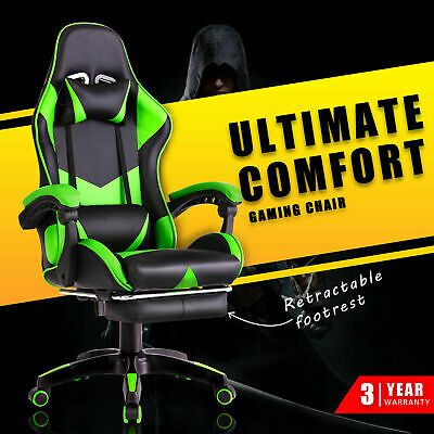 AU129.90 • Buy Computer Gaming Chair W/Footrest Executive Office Racer Recliner Chairs Green