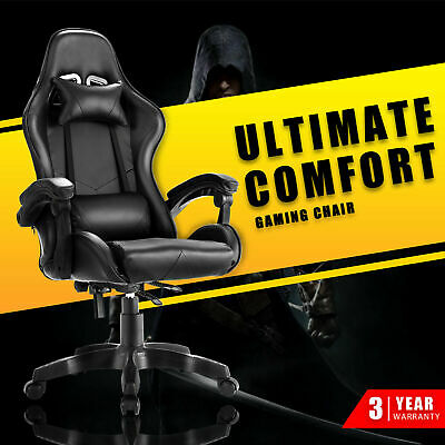 AU129.90 • Buy Computer Gaming Chair Executive Office Racer Recliner Chairs PU Leather Seat