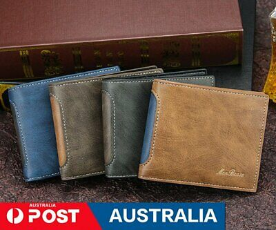 AU16.99 • Buy Men''s Leather Wallet Bifold Short Wallets Men Vintage Male Purse Coin Pocket